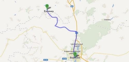 Карта проезда из Воронежа