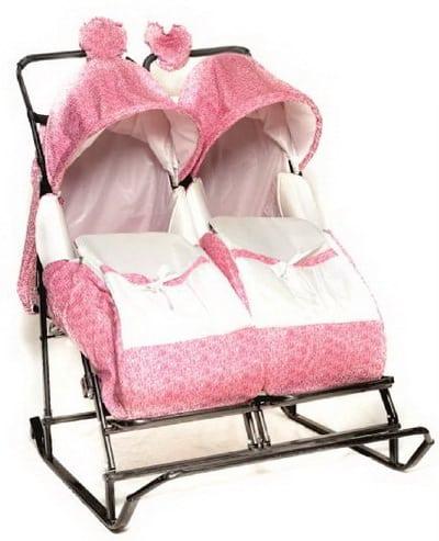 Санки коляска для близнецов и погодок