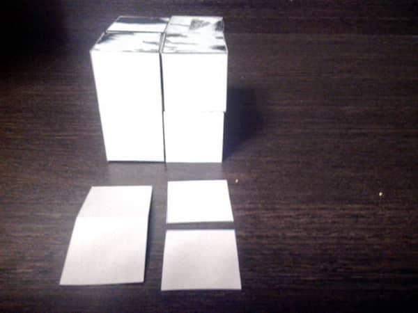 приклеиваем картинку к кубику пазлу